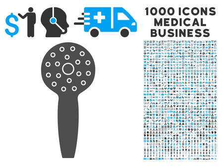 medical shower: Shower Head icon with 1000 medical commercial gray and blue vector pictographs. Set style is flat bicolor symbols, white background.