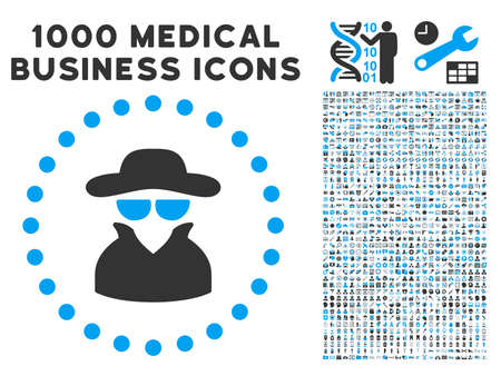 Spy icon with 1000 medical commerce gray and blue vector pictograms. Design style is flat bicolor symbols, white background.