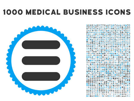 Stack icon with 1000 medical commerce gray and blue vector pictograms. Design style is flat bicolor symbols, white background. Illustration