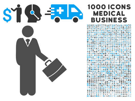Standing Businessman icon with 1000 medical business gray and blue vector design elements. Set style is flat bicolor symbols, white background. Illustration