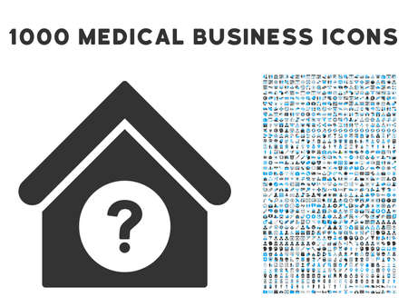 status: Status Building icon with 1000 medical business gray and blue vector design elements. Clipart style is flat bicolor symbols, white background.