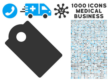 entity: Tag icon with 1000 medical commercial gray and blue vector pictograms. Design style is flat bicolor symbols, white background.