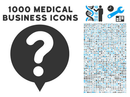 status icon: Status Balloon icon with 1000 medical commerce gray and blue vector design elements. Set style is flat bicolor symbols, white background. Illustration
