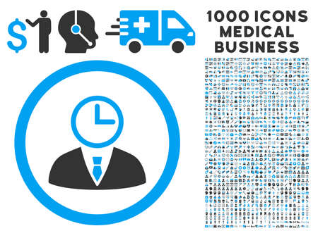 Time Manager icon with 1000 medical commerce gray and blue vector pictographs. Clipart style is flat bicolor symbols, white background. Illustration