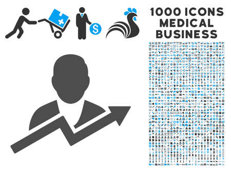personality: User Trend icon with 1000 medical business gray and blue vector pictograms. Collection style is flat bicolor symbols, white background.