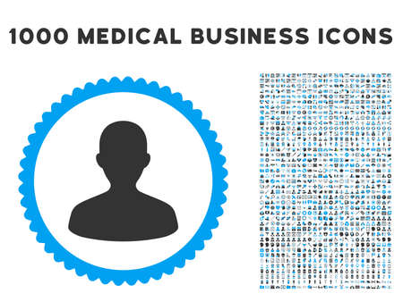 persona: User icon with 1000 medical commerce gray and blue vector design elements. Design style is flat bicolor symbols, white background.