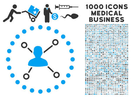 subsidiary company: User Relations icon with 1000 medical business gray and blue vector pictographs. Design style is flat bicolor symbols, white background.