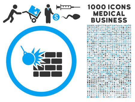 destruction: Wall Destruction icon with 1000 medical commerce gray and blue vector pictographs. Design style is flat bicolor symbols, white background.