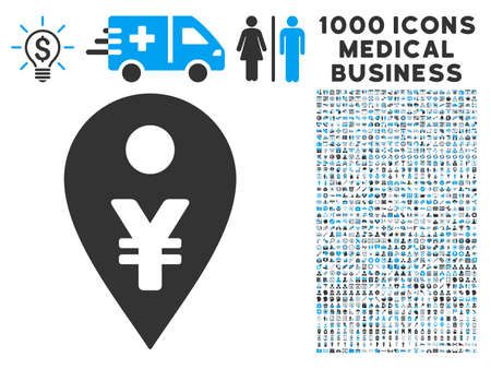 financial position: Yen Map Marker icon with 1000 medical commerce gray and blue vector pictographs. Set style is flat bicolor symbols, white background.