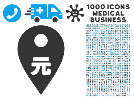financial position: Yuan Map Marker icon with 1000 medical commercial gray and blue vector design elements. Set style is flat bicolor symbols, white background.