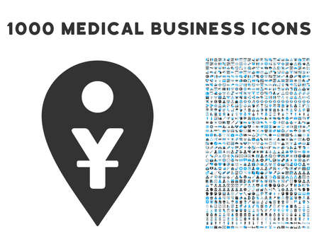 renminbi: Yuan Map Marker icon with 1000 medical commerce gray and blue vector pictograms. Clipart style is flat bicolor symbols, white background.