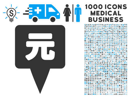 renminbi: Yuan Map Pointer icon with 1000 medical business gray and blue vector pictograms. Set style is flat bicolor symbols, white background.