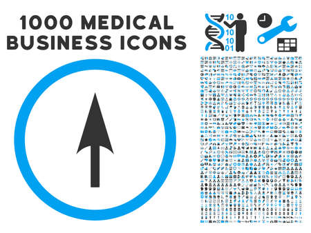 y axis: Arrow Axis Y icon with 1000 medical business gray and blue glyph pictograms. Set style is flat bicolor symbols, white background. Stock Photo
