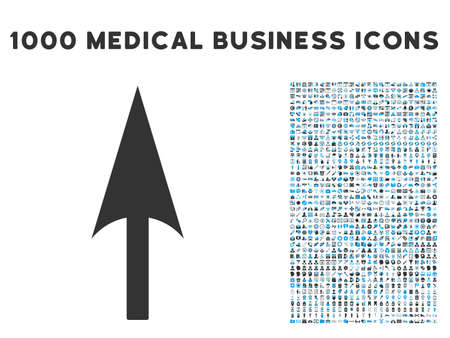 ordinate: Arrow Axis Y icon with 1000 medical business gray and blue glyph pictographs. Design style is flat bicolor symbols, white background.