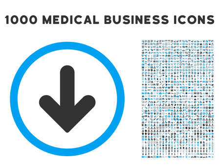 arrow down icon: Arrow Down icon with 1000 medical commercial gray and blue glyph pictographs. Set style is flat bicolor symbols, white background. Stock Photo