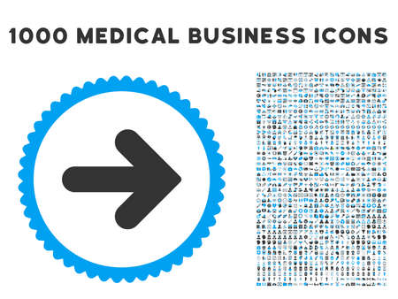 propel: Arrow Right icon with 1000 medical commerce gray and blue glyph design elements. Design style is flat bicolor symbols, white background.