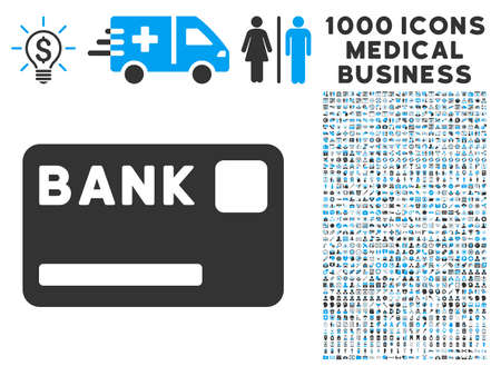 creditcard: Bank Card icon with 1000 medical commerce gray and blue glyph pictograms. Collection style is flat bicolor symbols, white background.