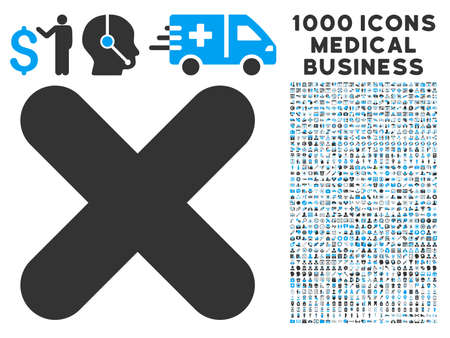 Cancel icon with 1000 medical commercial gray and blue glyph pictographs. Clipart style is flat bicolor symbols, white background. Stock Photo
