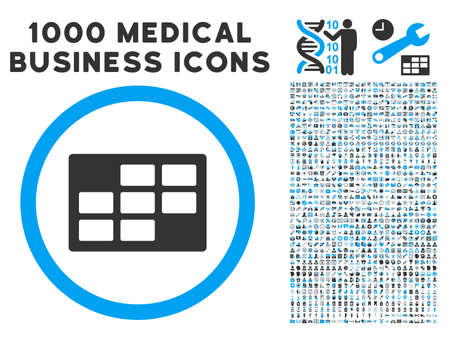 dataset: Calendar Table icon with 1000 medical commerce gray and blue glyph pictographs. Clipart style is flat bicolor symbols, white background. Stock Photo