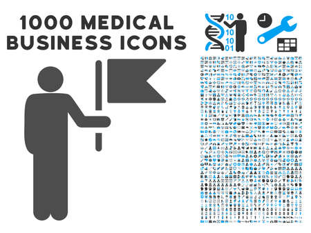 commander: Commander With Flag icon with 1000 medical business gray and blue glyph pictograms. Design style is flat bicolor symbols, white background. Stock Photo