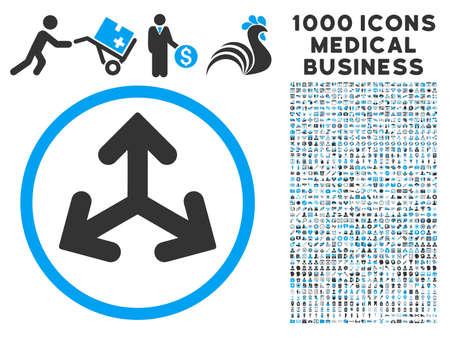 Variantes dirección icono con 1000 gris comercio médica y pictogramas de glifos azules. estilo clipart símbolos es bicolor planas, fondo blanco.