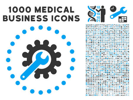 Customization icon with 1000 medical commerce gray and blue glyph pictographs. Collection style is flat bicolor symbols, white background.