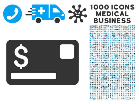 symbols commercial: Credit Card icon with 1000 medical commercial gray and blue glyph pictographs. Clipart style is flat bicolor symbols, white background. Stock Photo