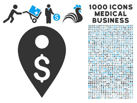 Dollar Map Marker icon with 1000 medical commerce gray and blue glyph pictographs. Collection style is flat bicolor symbols, white background.