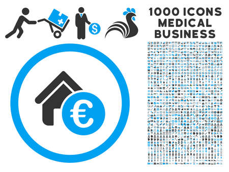 symbols commercial: Euro Home Rent icon with 1000 medical commercial gray and blue glyph pictograms. Design style is flat bicolor symbols, white background.