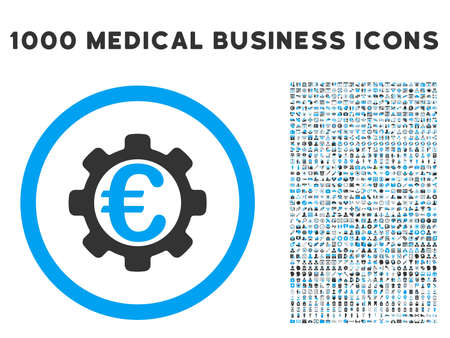 utility payments: Euro Payment Options icon with 1000 medical commercial gray and blue glyph pictograms. Collection style is flat bicolor symbols, white background.