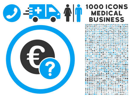 Euro Status icon with 1000 medical commerce gray and blue glyph pictographs. Collection style is flat bicolor symbols, white background.