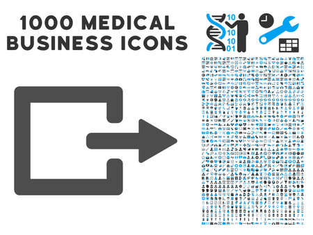 log out: Exit icon with 1000 medical business gray and blue glyph design elements. Set style is flat bicolor symbols, white background.