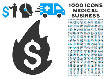 Fire Disaster icon with 1000 medical commercial gray and blue glyph pictographs. Design style is flat bicolor symbols, white background.