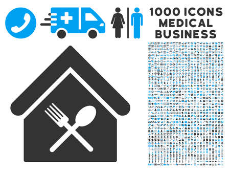 food court: Food Court icon with 1000 medical commercial gray and blue glyph pictograms. Set style is flat bicolor symbols, white background. Stock Photo