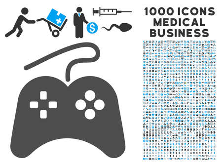 wii: Gamepad icon with 1000 medical commerce gray and blue glyph pictographs. Set style is flat bicolor symbols, white background.