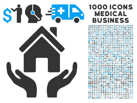 House Care Hands icon with 1000 medical business gray and blue glyph pictographs. Collection style is flat bicolor symbols, white background.
