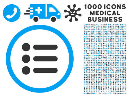 nomenclature: Items icon with 1000 medical business gray and blue glyph pictograms. Design style is flat bicolor symbols, white background.