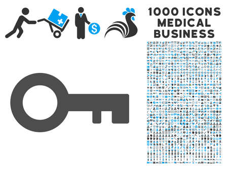 latchkey: Key icon with 1000 medical business gray and blue glyph pictograms. Collection style is flat bicolor symbols, white background.