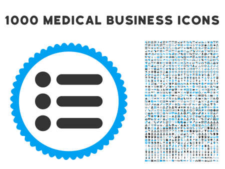 nomenclature: Items icon with 1000 medical commercial gray and blue glyph design elements. Clipart style is flat bicolor symbols, white background.
