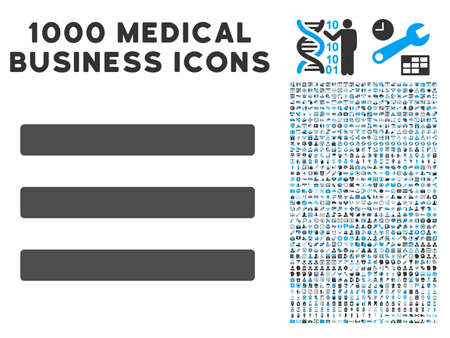 nomenclature: Menu icon with 1000 medical business gray and blue glyph pictographs. Design style is flat bicolor symbols, white background.
