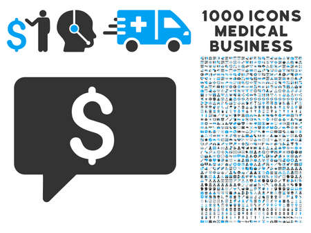 symbols commercial: Money Message icon with 1000 medical commercial gray and blue glyph pictographs. Collection style is flat bicolor symbols, white background. Stock Photo