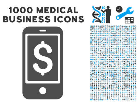 symbols commercial: Mobile Balance icon with 1000 medical commercial gray and blue glyph design elements. Design style is flat bicolor symbols, white background.