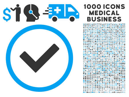 Ok icon with 1000 medical business gray and blue glyph pictograms. Clipart style is flat bicolor symbols, white background.