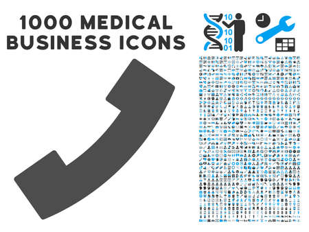 phone receiver: Phone Receiver icon with 1000 medical commerce gray and blue glyph design elements. Collection style is flat bicolor symbols, white background.