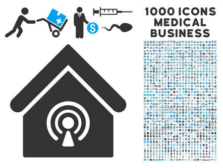 radio station: Radio Station icon with 1000 medical business gray and blue glyph pictographs. Collection style is flat bicolor symbols, white background.