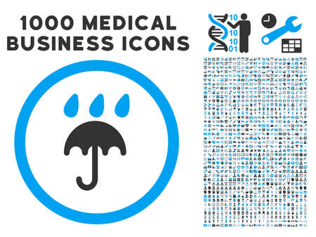 protection icon: Rain Protection icon with 1000 medical business gray and blue glyph pictograms. Clipart style is flat bicolor symbols, white background.