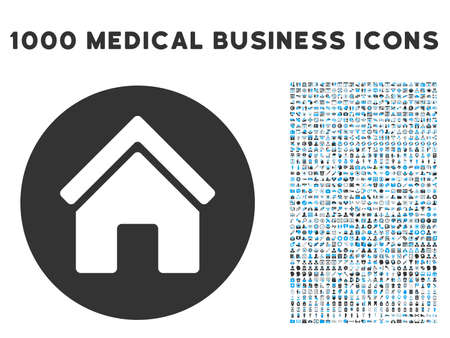 commercial real estate: Real Estate icon with 1000 medical commercial gray and blue glyph pictograms. Set style is flat bicolor symbols, white background.