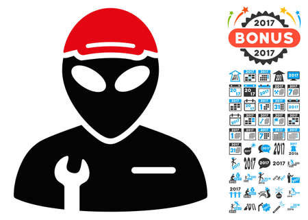 draftsman: Alien Serviceman icon with 2017 year bonus vector design elements. Collection style is flat symbols, white background.