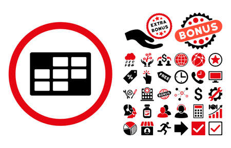dataset: Calendar Table pictograph with bonus icon set. Glyph illustration style is flat iconic bicolor symbols, intensive red and black colors, white background. Stock Photo