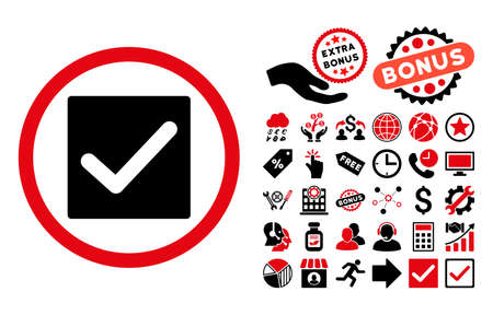 marked boxes: Check icon with bonus clip art. Glyph illustration style is flat iconic bicolor symbols, intensive red and black colors, white background.